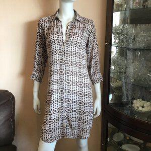 Cabi Button Down Dress Beige Brown Printed Collar
